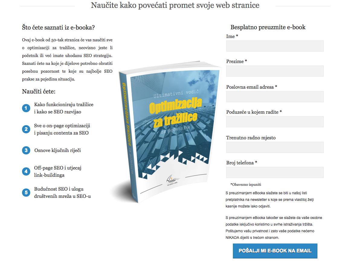 Poziv na akciju, online obrazac za seo ebook