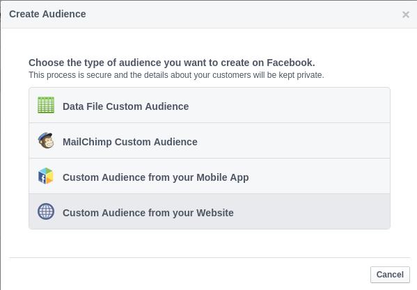 Prozor za izradu custom audience na Facebook