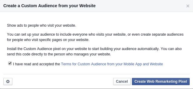 Prozor za izradu custom audience iz web stranice za Facebook Remarketing Pixel