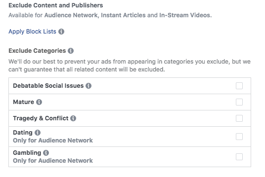 Facebookove liste za blokiranje mjesta za oglašavanje