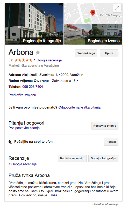 Google My Business Arbona
