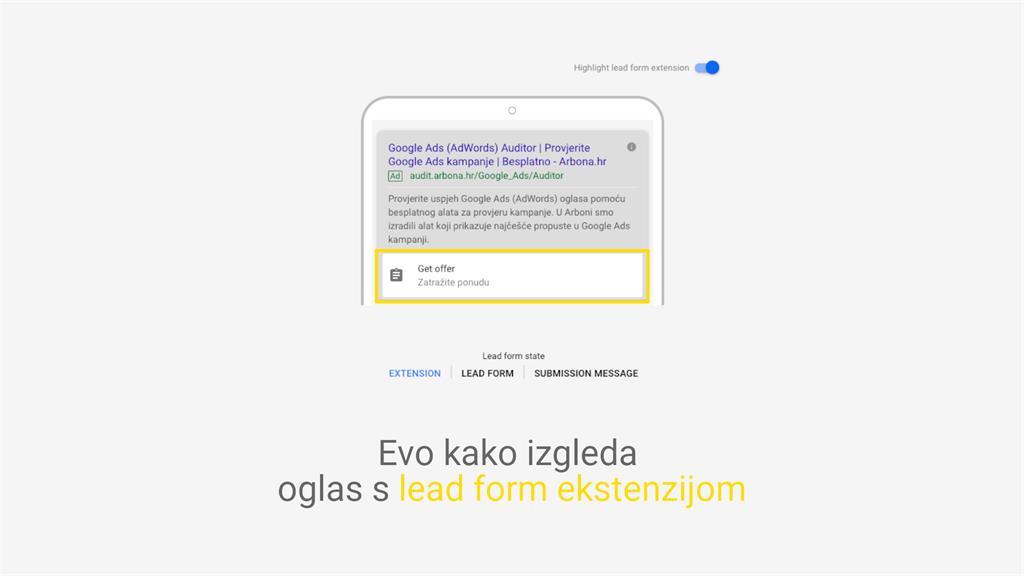 Lead forma na Google Ads oglasu