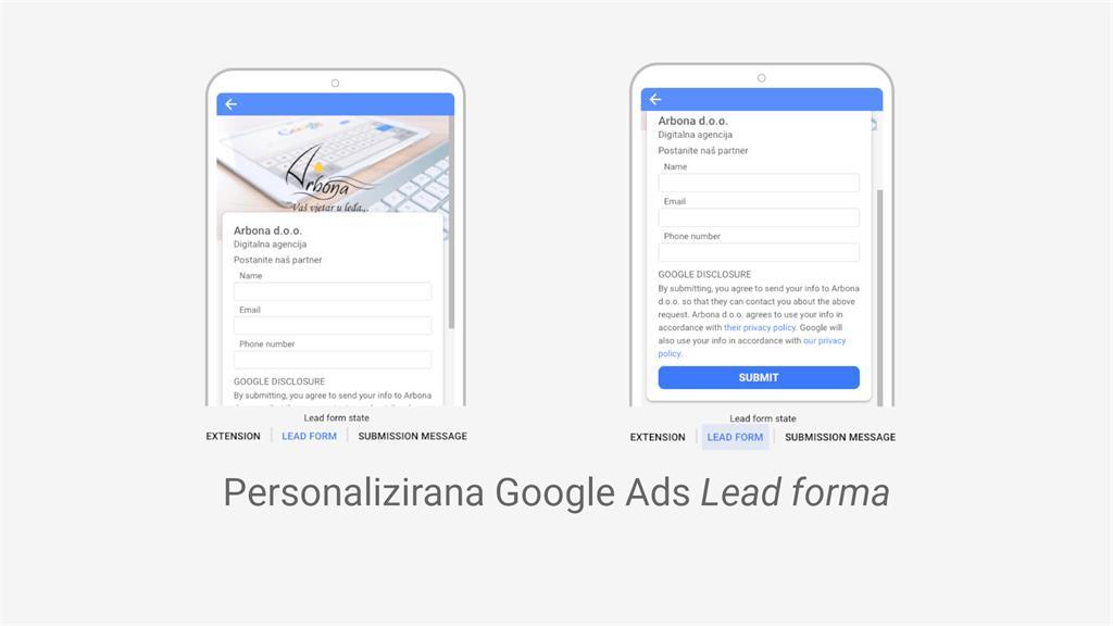 Primjer Google Ads oglasa s personaliziranom lead form ekstenzijom
