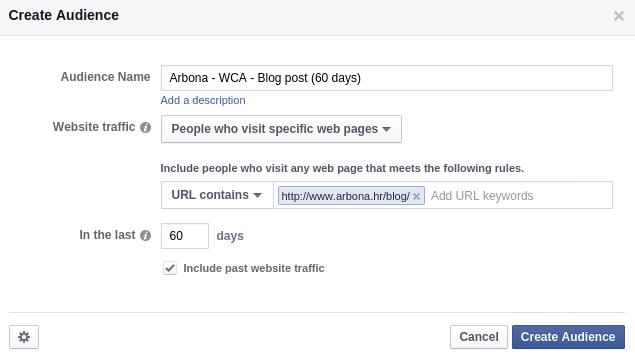 Postavljanje custom website audience za Facebook Pixel