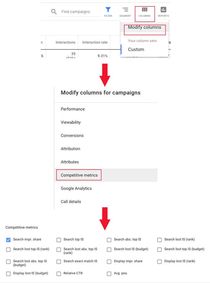 Kako pronaći stupce impression share u Google Adsu