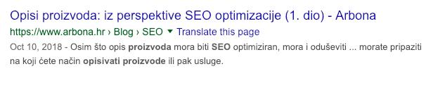 Kako Google prikazuje meta opise - primjer 1