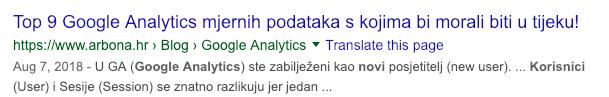 Primjer meta opisa s obzirom na pretraživanje korisnika