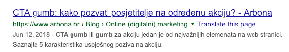 Kako Google prikazuje meta opise - primjer cijelog meta opisa